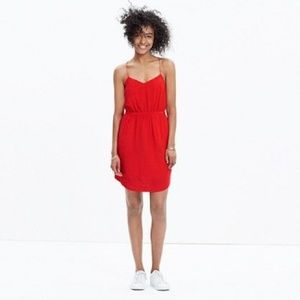 MADEWELL Silk Starview Cami Dress Red {S45}